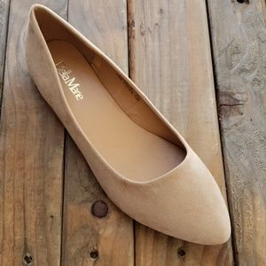 Pointed Faux suade flat